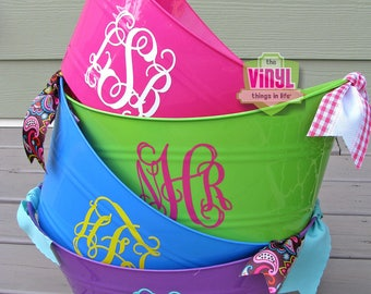 Monogrammed tub, Monogrammed bucket, Personalized oval tub, Monogrammed party favor