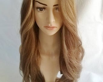 Human remy hair wig -- U part 3/4 clip in hairpiece, hair addition, 22 inches long, extension, brunette mix, brown, XS/S/M/L/XL