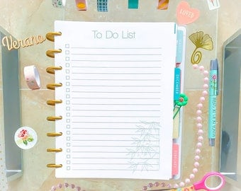 Happy Planner TO DO List 7.25 x 9.25 Printable Inserts To Do List Made to Fit Erin Condren Instant Download