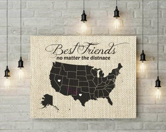 Mother Daughter Long Distance Map Christmas Gift Birthday - Us distance map