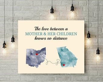 Fairy Godmother Gift | Going Away Gifts | Art Prints | Gift From Children | Long Distance Relationship | Watercolor Map Print - 67777