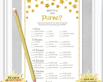 WHAT is in Your PURSE? Baby Shower game with gold stars, Twinkle, Twinkle little star Baby Shower game, diy PRINTABLE, 85BA