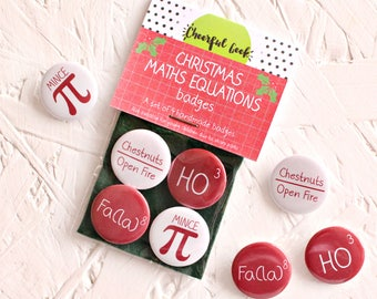 Christmas Maths Equations, Maths Badges, Christmas Pins, Christmas Math Equations,Stocking Fillers, Geeky Christmas, Geeky Christmas Gifts