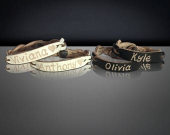 Personalized Leather Bracelet - Couples gift - Matching Couple Bracelet - His and Her couples Bracelets - Engraved lather name bracelet