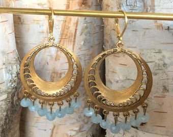 Brass Filigree Circle Earrings with Aquamarine