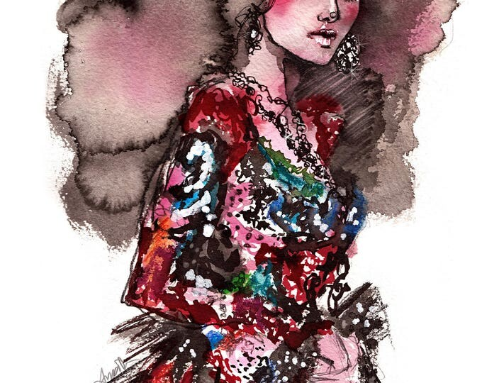 McQueen - Fashion illustration, Fashion sketch, Runway look, Watercolor illustration, Watercolor sketch