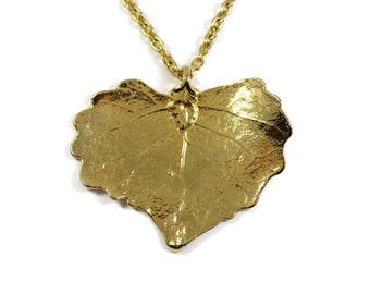 Vintage gold dipped leaf necklace, real leaf pendant, dipped in gold, golf leaf pendant, filigree leaf, autumn necklace, fall leaf, heart