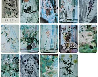 Flowers - Artist Vladimir Konashevich - Set of 13 Vintage Soviet Postcards, 1972. Watercolors Russian graphic artist illustrator Art Print