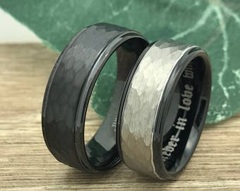 8mm His and Hers Tungsten Rings,Personalize Engrave  Tungsten Wedding Rings,Promise Ring, Anniversary Rings, Bride & Groom Ring