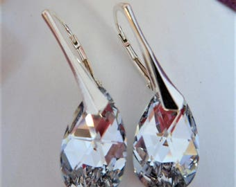 silver crystal earrings, silver earrings, sterling silver, bridal, bridesmaids