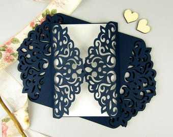DIY Laser Cut Gatefold Wedding Invitation Set of 10, Navy Gatefold Invitation, Modern Wedding Invitation, Elegant Invitation, Lace Invite