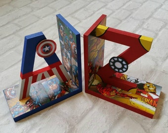 Avengers Bookends. Superhero Bookends. Hand Painted and Comic book Decoupage. Spiderman Book Ends. A-Z Bookends. MADE TO ORDER