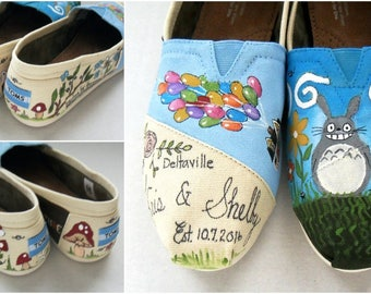 Bride's Love Story Wedding Shoes, Painted Women's TOMS, Gift for Bride, Personalized Custom Artwork, Bridal gift, Engaged, She Said Yes