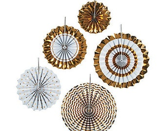 The Gold Party Fans / Wedding decorations / Awesome wedding decor/ paper fans /party fans/ Birthday paper Fans
