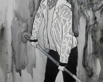 Gravebloom - Original mixed media illustration