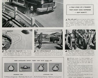 1946 Goodyear LifeGuard Safety Tires Ad - 1940s Goodyear Tires