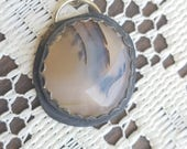 Dendrite Agate Pendant, Sterling Silver, Gemstone Jewelry, Funky Bohemian Jewelry, Gifts Under 40