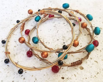 Guitar String Bracelet Copper Beaded, Gifts for Music Lover, Guitar Player, Gifts for Her Under 50, Stacking Bangles, Unique Gifts for Her