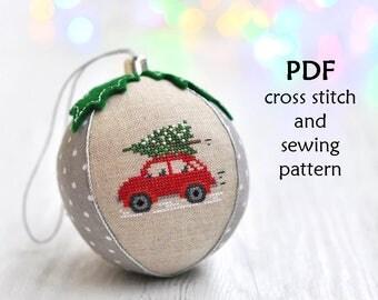 Cross Stitch Christmas Ornament. Christmas Cross Stitch Pattern. Christmas Sewing Pattern. Christmas Ornament Pattern. Christmas Bauble