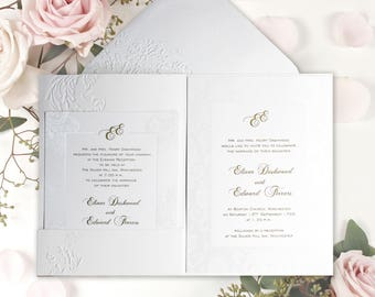 handmade embossed luxury wedding invitation pocketfold with complimentary envelopes and personalisation - Luxury Wedding Invitations
