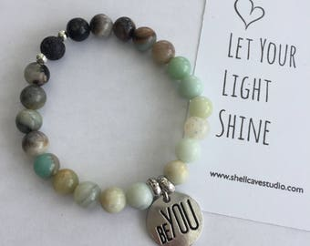 Be You Amazonite Diffuser Mala Bracelet with Lava Beads
