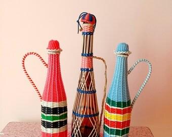 Set of 3 vintage scoubidou bottles
