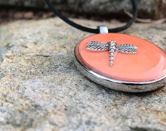 Resin Dragonfly Pendant // Oval Silver Tone Charm // Silver Dragon Fly Resin Pendant // Orange Glow In The Dark Necklet