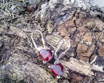 Red Heart Earrings/Avon Red Hearts/Avon Vintage Heart Earrings/Feminine Heart Earrings/Red Heart Avon Earrings/Women's Heart Earrings