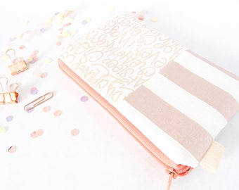 ROSE GOLD Pouch. Stripes + Words Pouch. Cute Friend Gift. Mom Gift. Wallet Pouch. Travel Wallet. Cute Rose Gold Bag.Striped Pouch.Cute Pouch