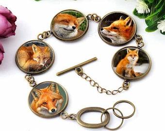 Fox Bracelet, Red Fox Jewelry, Wild Animals,Fox Pendant, Nature Jewelry, bronze link Bracelet, Art jewelry, gift for women, Fox Gift