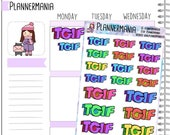 TGIF Stickers Word Stickers Planner Stickers Planner Accessories Weekend Stickers 686