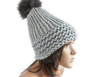 Gray Hat Gray Beanie - Chunky Knit Hat Women - Charlotte Slouchy Earflap Hat - Cap pom pom - Knit Accessories Gift For Her - 63 Color