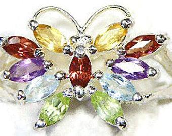 Vintage Sterling Silver Multi Gemstone Butterfly Ring – Citrine, Garnet, Amethyst, Blue Topaz, Peridot Gemstone Ring – Multistone Ring
