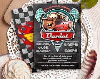 Disney Cars Invitation, Cars Birthday Invitation, Cars Birthday Party, Cars Printables, Lightning McQueen invitation, Retro Cars Invitation