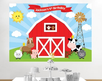 Farm Birthday Banner, Farm Birthday Backdrop, Farm Backdrop, Farm Birthday, Barnyard Backdrop, Barnyard Birthday, Barnyard Party, printable
