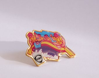 Funky colorful pins from the 80's - Rafting
