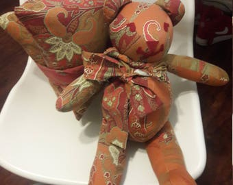 Rusty Bear and Pillow set of 3, Wedding Present, Bachelorette, Birthday, Valentines Day gift.  Repurposed fabric by Vintage Angel