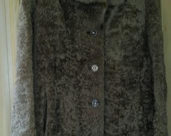 Vintage Astrakhan coat knee length size 14 brown