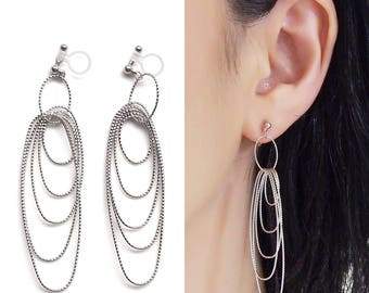 Silver Clip On Earrings Hoops Invisible Clip On Earrings Long Oval Hoop Clip On Earrings Dangle Clip On Hoop Earrings Drop Earrings