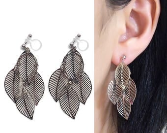 Silver Clip On Earrings Filigree leaf Invisible Clip On Earrings Bohemian Lace Clip On Earrings Boho Clip On Earring Dangle Clip-ons
