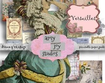 Versailles  Marie Antoinette digital journal kit  French printable   French digital paper  french digital collage sheet vintage  Mini album