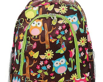 Owl Print Monogrammed School Backpack Neon Green Trim