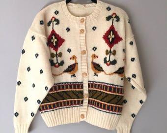 Wool Cardigan Women Vintage Small - 90s Vintage Sweater Women's Cream - Pattern Fair Isle Country Preppy 1990