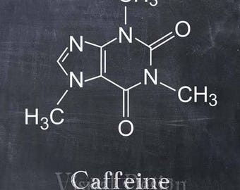 Caffeine Molecule - Coffee Art Print - Coffee Poster - Kitchen Art - Kitchen Decor - Caffeine Art - Coffee House - Chemistry Chemical