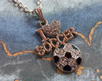 Soccer Pendant, Soccer Necklace, Rhinestone Soccer Pendant, Sports Necklace/Pendant, Sports Jewelry, Soccer Jewelry, Gift For Her