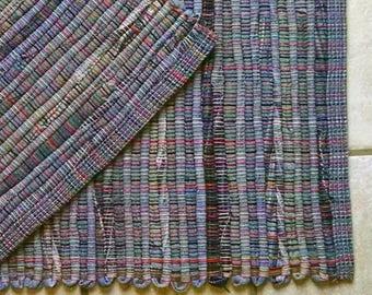 "Rag Rug #472 BLUE JEAN rug 26"" x 50"""