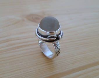 Moonstone sterling silver ring, woodland jewelry, gemstone silver ring, moonstone jewelry, white moonstone ring, nature jewelry