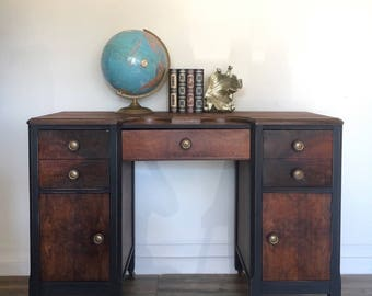 Wooden Desk on Casters , Vanity, Mid Century Style Desk, Hollywood Regency