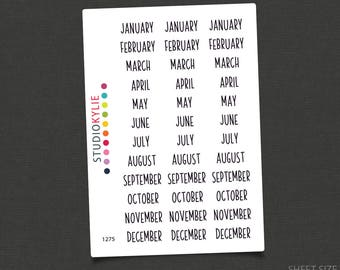 Mini Months of the Year Stickers - Repositionable Matte Vinyl