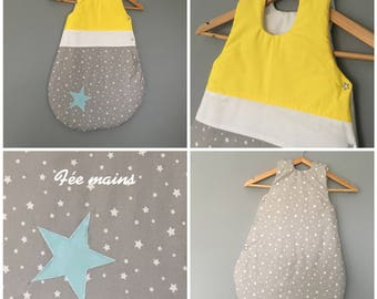 Sleeping bag 0-6 months cotton grey white and yellow stars